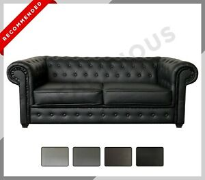 NEW CHESTERFIELD Imperial 3+2 Sofa Set Suite 3 or 2 Seater Sofa Faux Leather