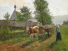 PAINTING LANDSCAPE RURAL BAISCH CHAT IN THE FIELDS ART PRINT POSTER LF594