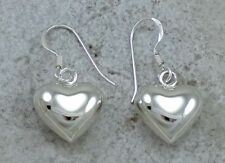 925 STERLING SILVER 14mm PUFFED HEART DANGLING EARRINGS style# e1229