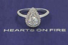Hearts on Fire Destiny Teardrop Shape Halo Engagement Ring Round 0.88 TCW 18k WG