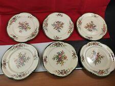 6 Assiettes Plates en Faïence de Longchamp, modèle Trianon. XIXe siècle