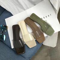 Womens Chic Clear Open Toe Mules Mid Cuban Heels Square Toe Slipper Slide Sandal