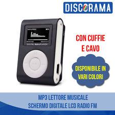 MP3 LETTORE MUSICALE - SCHERMO DIGITALE LCD RADIO FM MINI CLIP CON CUFFIE