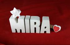 Beton, Steinguss Buchstaben 3D Deko Namen MIRA als Geschenk verpackt!