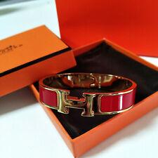HERMES 18K Gold Enamel Bracelet Classic Clic Clac H Bangle Red PM New