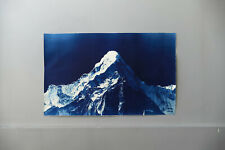 Mountain Cyanotype Mid Century Modern Minimal Original Art Signed