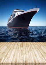 Ocean Scenic Photo Background Wooden Floor Photography Backdrop Boat Vinyl 5x7ft