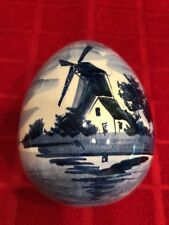 "Vintage ""DELFT"" Hand Painted EGG Trinket Box -Holland"