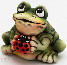 Clay Grog figurine Frog Toad with Ladybird beetle souvenir handmade hand-painted