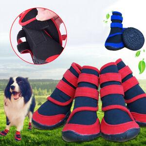 UK_ WATERPROOF PET CATS DOG BOOTS ANTI-SLIP PUPPY SHOES RAIN SNOW BOOTIES FOOTWE