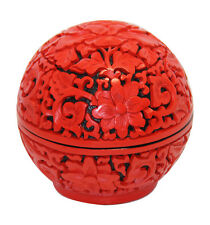 hand carved red lacquer box with peony flower pattern