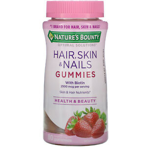Nature's Bounty, Hair, Skin & Nails, Strawberry Flavored,  80 Gummies
