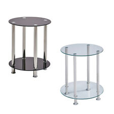 2 Tier Round Coffee Table Glass Top Sofa Side End Table Home Decor Modern US