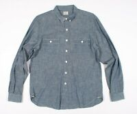 Mens J Crew Blue Japanese Selvedge Utility Work Shirt Size L Large