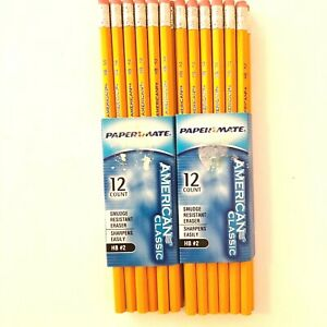 Paper Mate American Classic No 2 Yellow Pencils 2 Boxes of 12 Count New 2003
