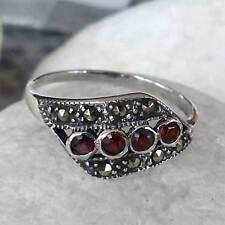 Ring mit  facettierten  Granat besetzt mit Markasit -Gr.58 - 18,4 mm