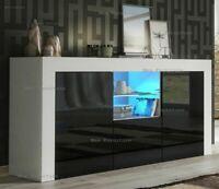 Modern TV Unit Cabinet TV Stand - Matt Body & High Gloss Doors LED Light NEW UK