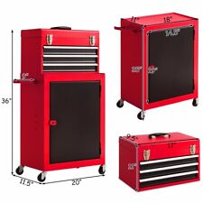 Giantex 2pc Mini Tool Chest & Cabinet Storage Tool Box Rolling Garage Toolbox Or