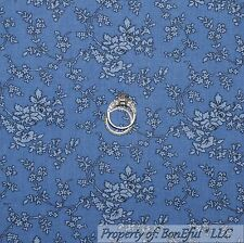BonEful Fabric FQ Cotton Quilt Blue French Cottage Shabby Chic Rose Flower Small