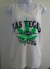 Las Vegas High Life Sleeveless Ribbed Tank Top Sz XL; White/Green Logo; NW/oT