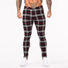 GINGTTO Men Chinos Trousers Skinny Stretch Slim Fit Spandex Plaid Dress Pants