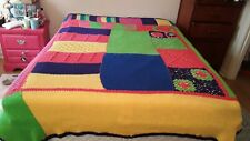 VTG Handmade Crochet Afghan Bedspread Full Queen Bright Colors Pink Green Purple