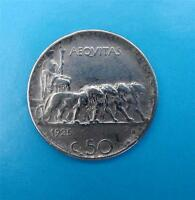 ITALIEN 50 CENTESIMI 1925 ~REEDED EDGE-RIFFELRAND~
