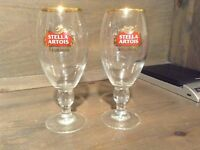 Set of 2 Stella Artois Gold Rim Stem Chalice Glasses 8 INCH NICE Cup Mug Stein