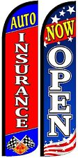 Auto Insurance Now Open Windless Standard Size Swooper Flag Sign Banner Pk of 2