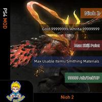 Nioh 2 (PS4 Mod)-Max Gold/Skill Points/Items/Materials/Attack/Def/HP