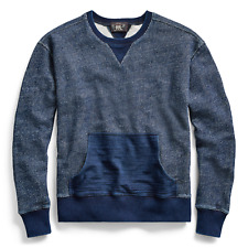 RRL Ralph Lauren Indigo Dyed Cotton Sweatshirt V-insets NWT Medium