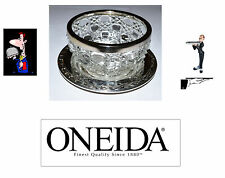 VINTAGE. ONEIDA SILVER PLATED TRAY WITH SILVER PLATED RIMMED BOWL. USA SELLER.