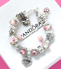 Pandora Charm Bracelet Sterling Silver MOM Pink Pearl European Charms Christmas