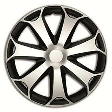 "14"" MEGA SILVER / BLACK Wheel Trims Set of 4 Hub Caps 14 inch"