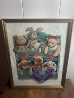 """12""""x 15"""" Counted Cross Stitch Framed w/Glass Picture  TEDDY BEARS/BUNNIES"""