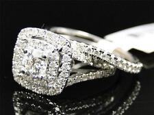 Round Diamond 10k Ladies White Gold Channel Bridal Wedding Engagement Ring Set