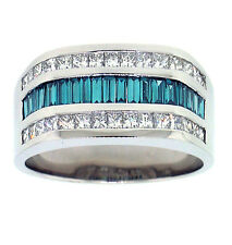 2.15ct MENS PRINCESS & BAG DIAMOND RING 14kt WHITE GOLD
