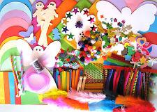 Bulk Kids Craft Kit Items Glitter Sticks Paper Circles Squares Feathers Pom Poms