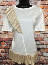 NEW RIVER ISLAND 12 White Short Sleeve T-shirt Tunic Top Gold Foil Frills