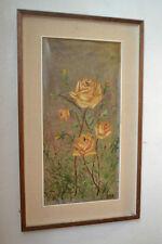 Magnifique ancien tableau peinture HST Fleurs Roses Jaunes signé