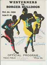 1936 LUBBOCK vs BORGER (TEXAS) High School FOOTBALL Program (AUTOGRAPHED by 7)
