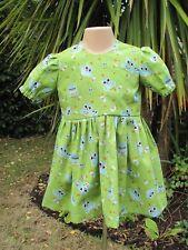 Girls Short-Sleeved Dress, Green, Owls, 18-24 Months, New, Handmade