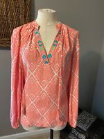 Alice & Trixie Silk Orange White Blue Long Sleeve Top Large