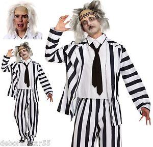 Adult Crazy Ghost Graveyard Ghoul Halloween Fancy Dress Costume + Wig  M-XXL