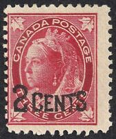 CANADA 1899 Queen Victoria Overprint Leaf Issue  2c on 3c SC#87 MH