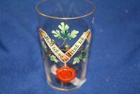 original antikes Glas Trinkglas Emaillemalerei Email Rast ich so trink ich ~1880