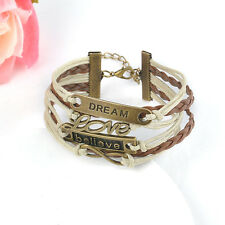 NEW Hot Infinity Believe Dream Leather Cute Charm Bracelet Bangle Bronze DIY