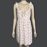 FOREVER NEW Sz 14 White Sleeveless Scoop Neck Strawberry Knee Length Silk Dress
