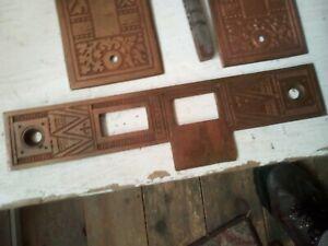 Antique brass Corbin Eastlake Victorian door set flower motif strike plate NR