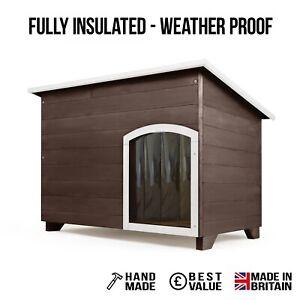 Outdoor Dog Kennel / House Winter Weather Proof Insulated - XL - Seasoned Oak